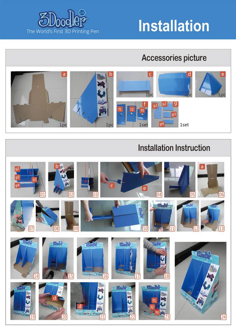 3Doodler Printing Pen Cardboard Counter Display Unit Assembly