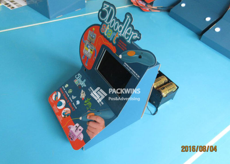 Battery Powered LCD Video Display in Corrugate Counter