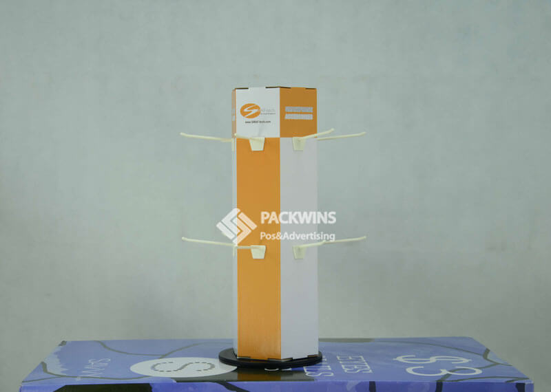 Cardboard Rotating Phone Accessories Display Counter with Hooks