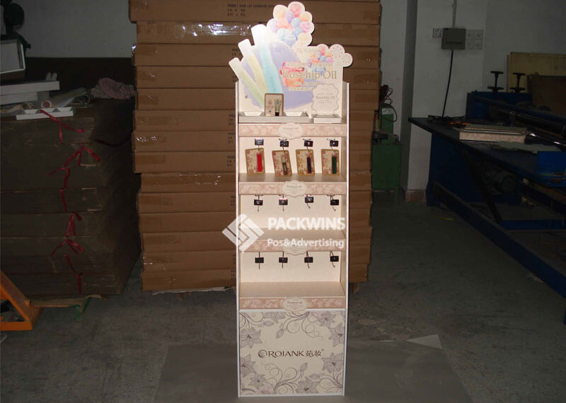 Cosmetics Corrugated Floor Displays With Shelves And Hangers