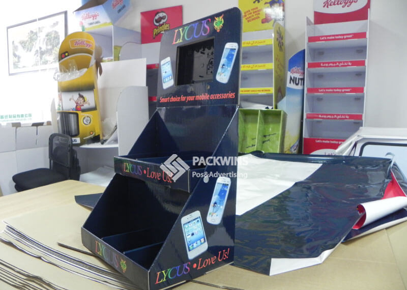 Counter Display Boxes With LCD Video to Hold Phone Accessories