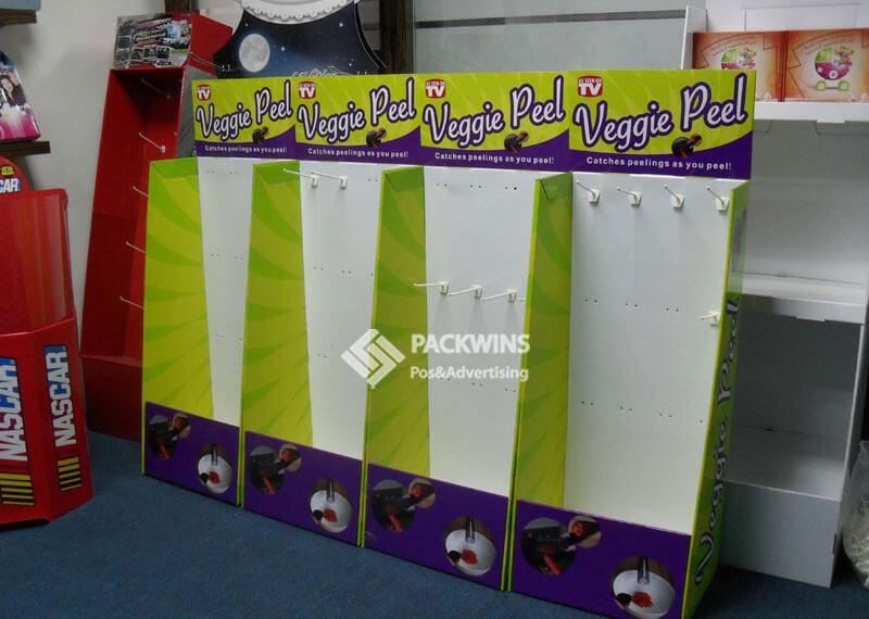 Kitchenware Veggie Peel Corrugated Pegboard Store Displays