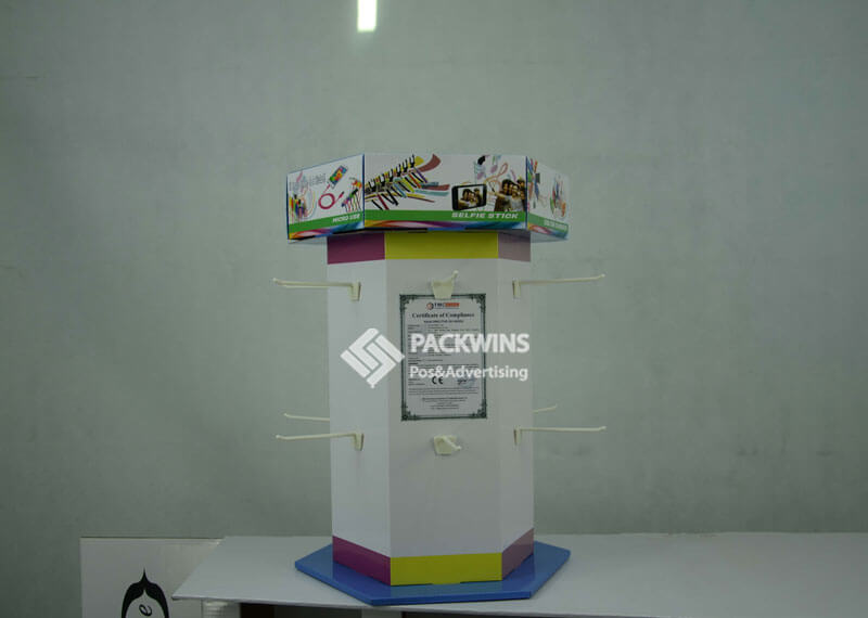 Phone Charger and Power Bank Rotating Corrugate Display Stands