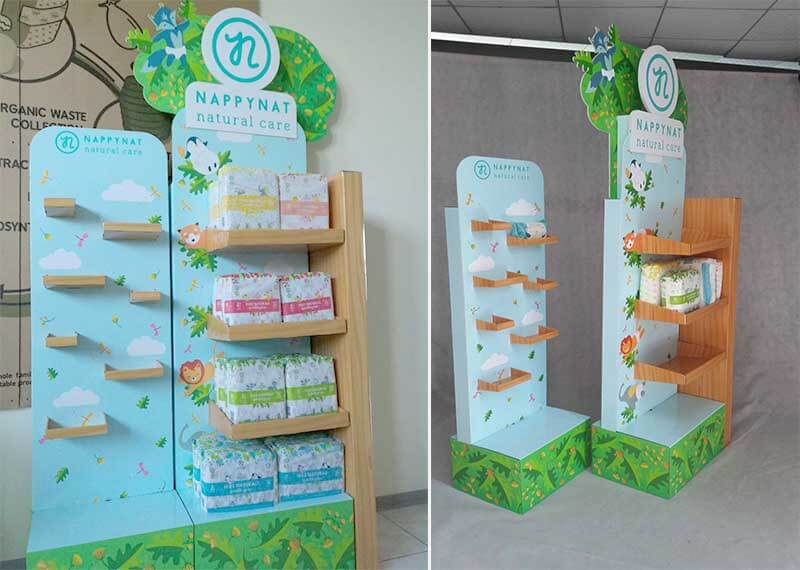 Unique Shaped Pop Floor Display Designed For Baby Diapers